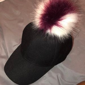 Black Cap with White & Maroon Puffball